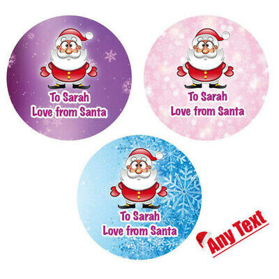 48 X Personalised Christmas Stickers Santa Father Christmas Present Labels - 059 • 2.45£