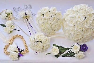 £23.95 • Buy Wedding Bouquet, Bridesmaids Posy, Grooms Buttonhole, Corsage, White Or Ivory