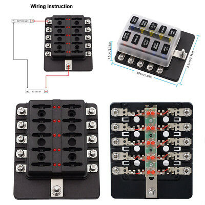 $19.73 • Buy Automotiv General 10 5A 10A 15A 20A Blade Fuse Box With LED Indicator Dust Cover