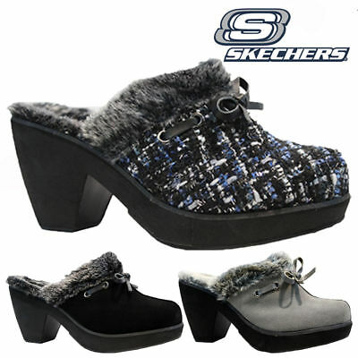 New Womens Skechers Full Fur Slip On Wedge Heel Clogs Mules Slippers Shoes Size • 19.95£