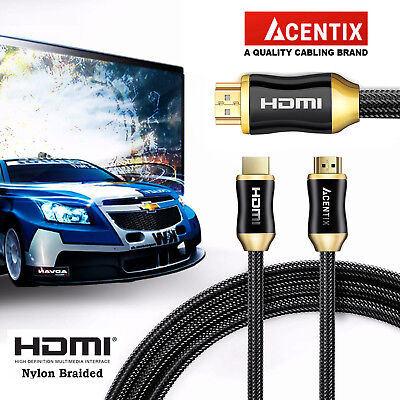 £8.99 • Buy Premium New 4k Ultra High Speed Nylon Braided Hdmi V2.0 Cable For Xbox Sky Q Ps4