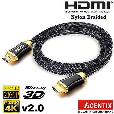 £5.49 • Buy HighSpeed Gold Plated HDMI Cable | 4K @ 60Hz 4096 X 2160p HDR UHD XBOX 3D TV PS5
