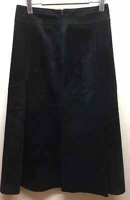 $ CDN22 • Buy Danier Leather A-Line Black Leather Suede Sz 4 Knee Length 28 Inches Lined