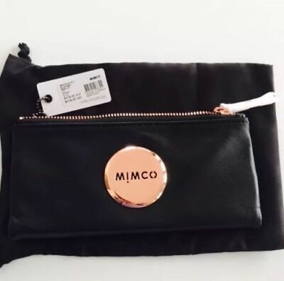 AU79.99 • Buy Mimco Mim Fold Sheep Leather Wallet Purse Black Rose Gold • AUTHENTIC RRP 179