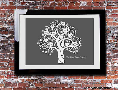 Personalised FAMILY TREE Hearts Mothers Day Print Branch Canvas Gift Present • 8.99£