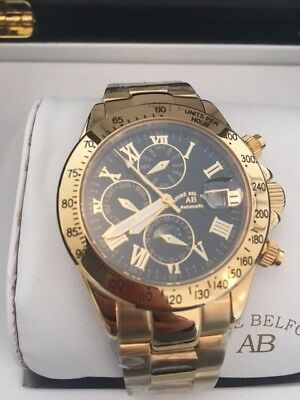£525 • Buy RRP £1300 Black And Gold Andre Belfort Swiss Stainless Steel Watch