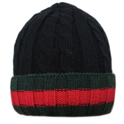 £3.95 • Buy Mens Knitted Winter Cable Knit Design Hats Free P&P Green/Red/Stripe