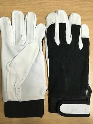 Mens Driver / Assembly Gloves Sheep Skin Leather Comfortable Hand Protection • 3.95£