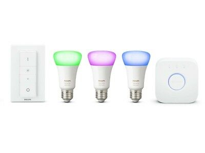 AU297.95 • Buy Philips Hue Richer Colours E27 ES White Colour Ambience Starter Kit With Dimmer