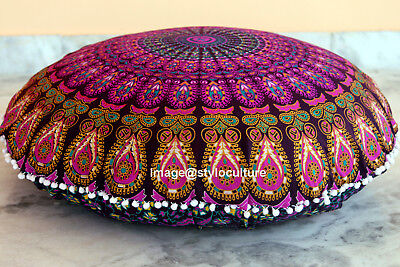 £13.99 • Buy INDIAN MANDALA ROUND TAPESTRY FLOOR CUSHION PILLOW POUF COVER Bohemian Throw 32