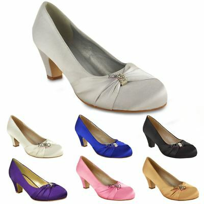 £14.99 • Buy Womens Wedding Bridal Ladies Prom Shoes Low Heel Bridesmaid Evening Sandals Size