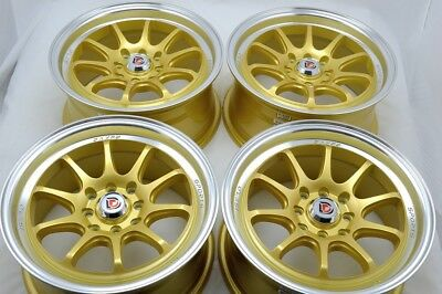 $332.64 • Buy 15 Gold Wheels Accord Cooper Miata Civic Cobalt Integra Yaris 4x100 4x114.3 Rims