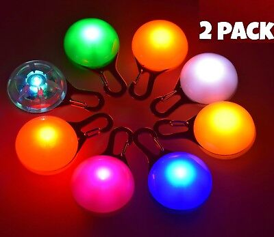 £3.99 • Buy 2 PACK - Waterproof Pet Dog Cat Collar LED Night  Safety Clip Tag Flashing Light