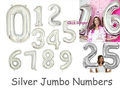 AU3.65 • Buy Silver Foil Number Balloon Jumbo Size Helium Quality Birthday Balloons 21st 18th