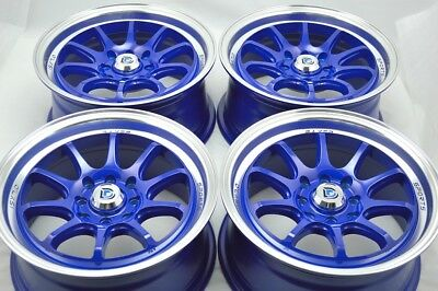$332.64 • Buy 15 Blue Wheels Yaris Civic Cooper Accord Integra CL Ion IQ XB 4x100 4x114.3 Rims