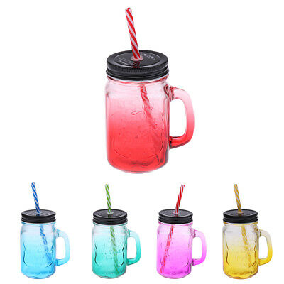 Mason Gradient Color Jars Mugs With Handles Lids And Drinking Straws 480ML • 7.49£
