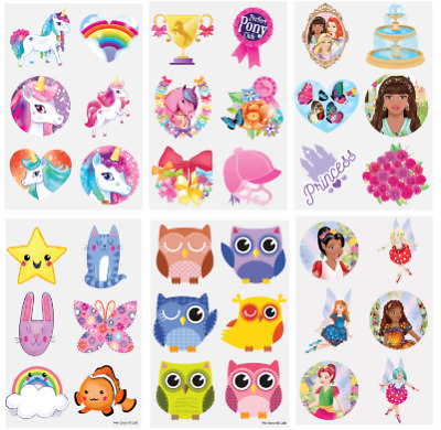 £2.09 • Buy 36 X GIRLS Assorted Temporary Tattoos Party Bag Fillers - UNICORN, PRINCESS PONY