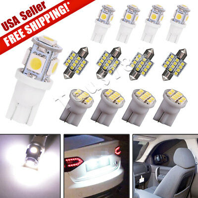 $6.64 • Buy 13x Pure White LED Lights Interior Package Kit For Dome License Plate Lamp Bulbs