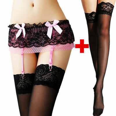 $7.98 • Buy Lingerie + Thigh-Highs Stockings Sexy Women's Lace Garter Belt Stocking G-string