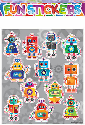 12 Sheets ROBOT Stickers Boys Childrens  Party Bag Fillers Kids Craft Toys • 2.49£