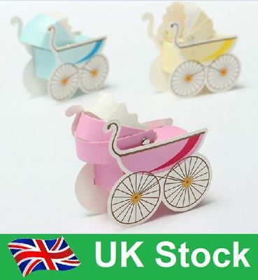 Baby Shower Christening Boy/Girl Pram Sweet Candy Gift Favour Boxes • 7.50£