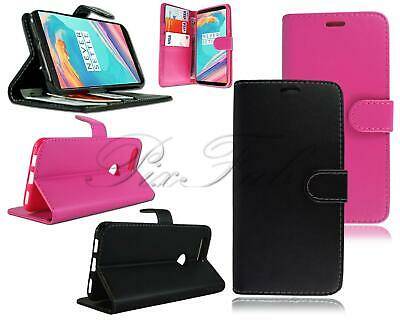 AU9.35 • Buy For OnePlus 5T New Genuine Black Pink Leather Flip Wallet Phone Case Cover