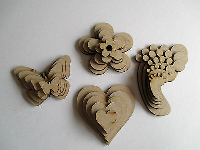 Wooden MDF Shapes Hearts Stars Butterfly Craft Decoration Embellishments • 2.45£