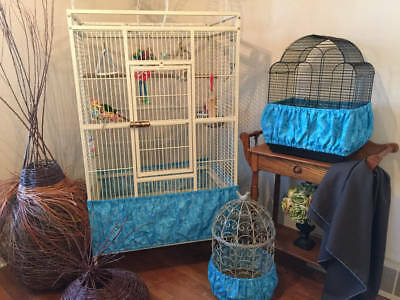 $34.98 • Buy Handcrafted Turquoise Blue Fabric Bird Cage Seed Catcher Skirt Guard Or Cover