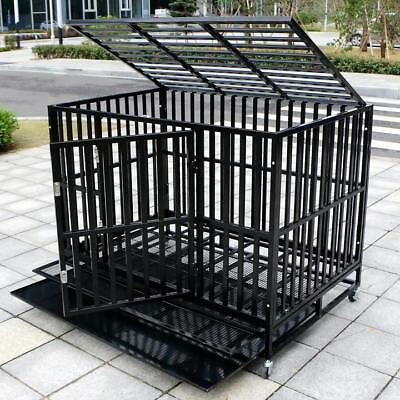 $149.99 • Buy 37''/42''/48'' Heavy Duty Dog Cage Large Crate Square Tube Pet Kennel W/Tray