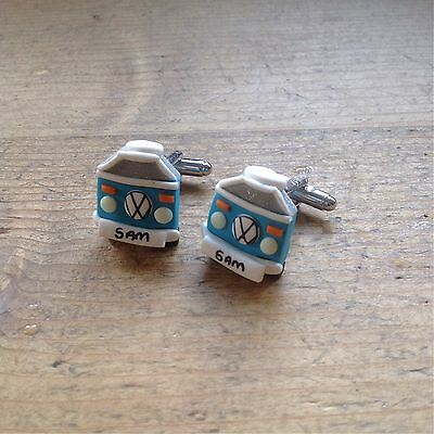 £3.99 • Buy Cufflinks Handmade Campervan Camper Wedding Personalised Wedding Groom Gift