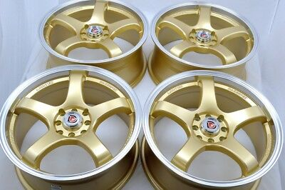 $380.16 • Buy 17 Gold Wheels Cooper Civic Fit Cobalt Miata Integra XB Vigor 4x100 4x114.3 Rims