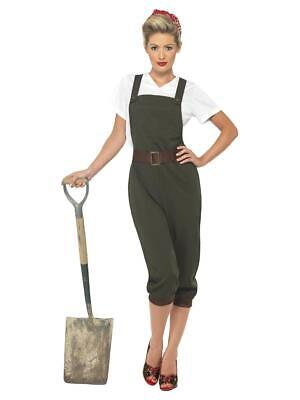 Womens 1940s WW2 Land Girl Army Fancy Dress Costume Ladies Outfit • 39.99£