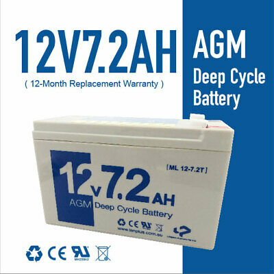 AU24.50 • Buy Brand New 12V 7.2AH 7ah AGM Deep Cycle Sealed Lead Acid Battery Size As 12v 9ah