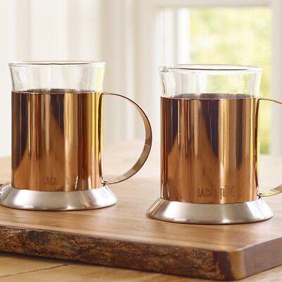 La Cafetiere Set Of 2 Stainless Steel 200 Ml Copper Glass Coffee Cups • 21.99£