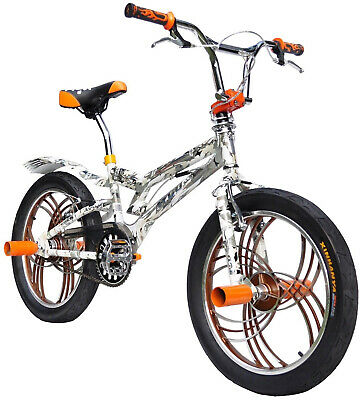 AU289 • Buy Brand New 20  BMX Bicycle Bike V Brake 3.0 Tyres Aluminium Wheels-Orange White