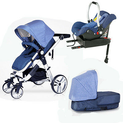 $599 • Buy Baby Stroller 3 In 1 Foldable Travel Pushchair Bassinet Car Seat With Baby Base