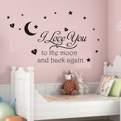 £2.41 • Buy I Love You To The Moon And Back Wall Sticker Vinyl For Kid Baby Room Home Decor