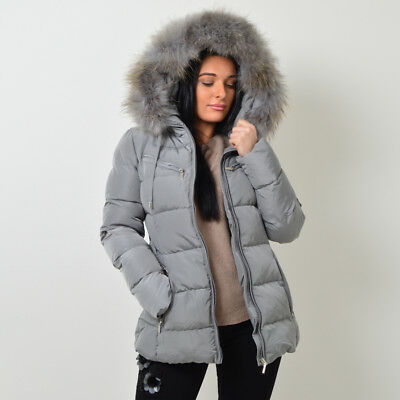 ATTENTIF PARIS Womens Parka Raccoon Fur Quilted Coat -11 Colours - Sizes 8 - 14 • 109.99£
