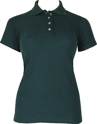 AU12.99 • Buy Small & Plus Size 6 To 26 Womens Dark Green Polo Shirt Breathable Cotton Blend
