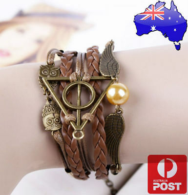 AU6.98 • Buy Harry Potter Deathly Hallows Golden Snitch And Owl Angel Wing Leather Bracelet