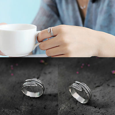 925 Sterling Silver Feather Open Rings For Women Ancient Style Plume Adjustable • 3.99£