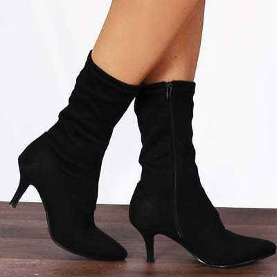 Black Faux Suede Stretch Sock Pointed Pull Up Kitten Heel Ankle Boots Size • 24.95£