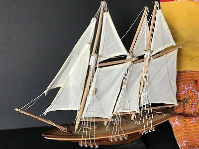 Old Gaff Rig Model Sailing Ship On Stand …beautiful Collection Piece • 55.12£