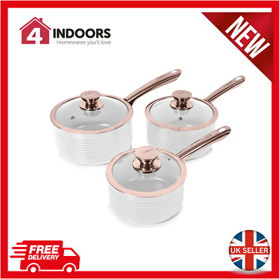 Tower T800001RW Linear Ceramic 3 Piece Saucepan Set In White And Rose Gold - New • 53.99£