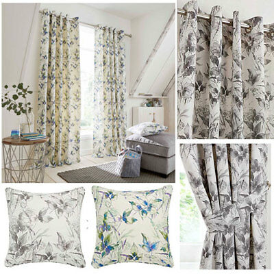 Stella Floral Print Lined Eyelet Ring Top Curtains (Pair Of) Ready Made • 21.94£