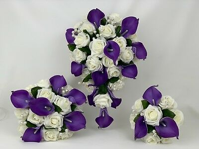 £35 • Buy Wedding Bouquets Flowers Purple Rose Lillies Bride Bridesmaid Buttonholes Wands