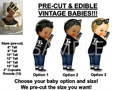 PRE-CUT 50's T Birds Black Leather Jacket Baby Boy EDIBLE Cake Topper Image Afro • 12.71£