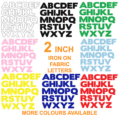 £6.25 • Buy IRON ON Die Cut Fabric LETTERS! Approx 2 INCH SIZE! In Various Colours! 2  SIZE