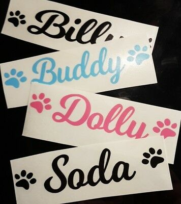 Personalised Pet Name Vinyl Decal Sticker For Dog/Puppy Cage/Crate/Bowl/Toy Box • 1.75£