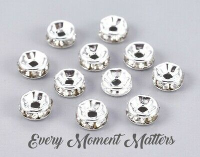 100 X SILVER RONDELLE RHINESTONE SPACER BEADS - GRADE A - 6mm And 8mm • 2.49£